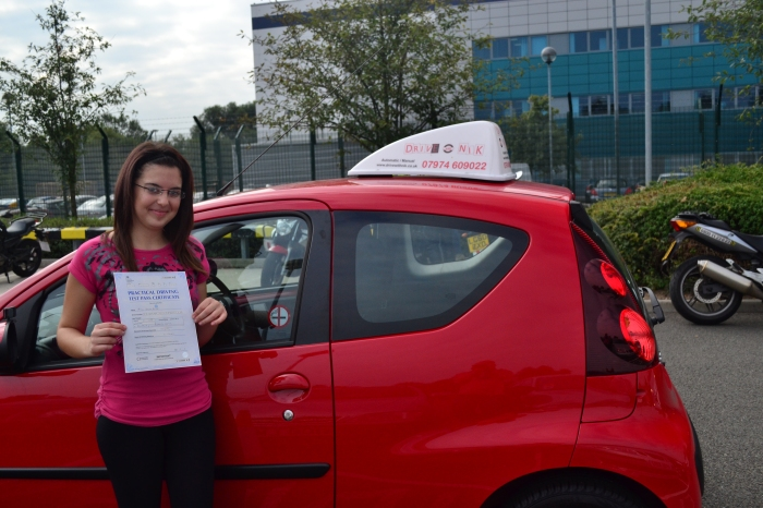 Driving Lessons Palmers Green. Automatic Driving Instructor Palmers Green. Sevim passed her driving test first time.